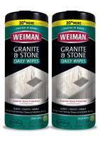 Weiman Granite Cleaner and Polish - 2 Pack - 30 Wipes - for Granite Marble Soapstone Quartz Quartzite Slate Limestone Corian Laminate Tile Countertop and More