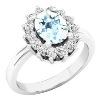 Dazzlingrock Collection 14K 8X6 MM Oval Gemstone & Round White Diamond Halo Bridal Engagement Ring, White Gold