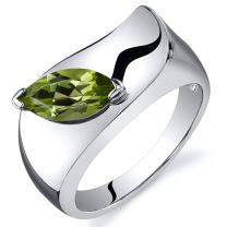 Peridot Ring Sterling Silver Marquise Shape 1.00 Carats Sizes 5 to 9