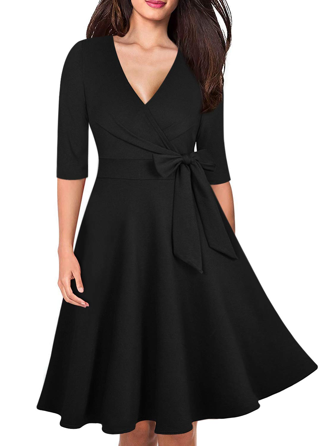 Ranphee Womens 3/4 Sleeve Cotton Flattering Fit and Flare Faux Wrap Dresses