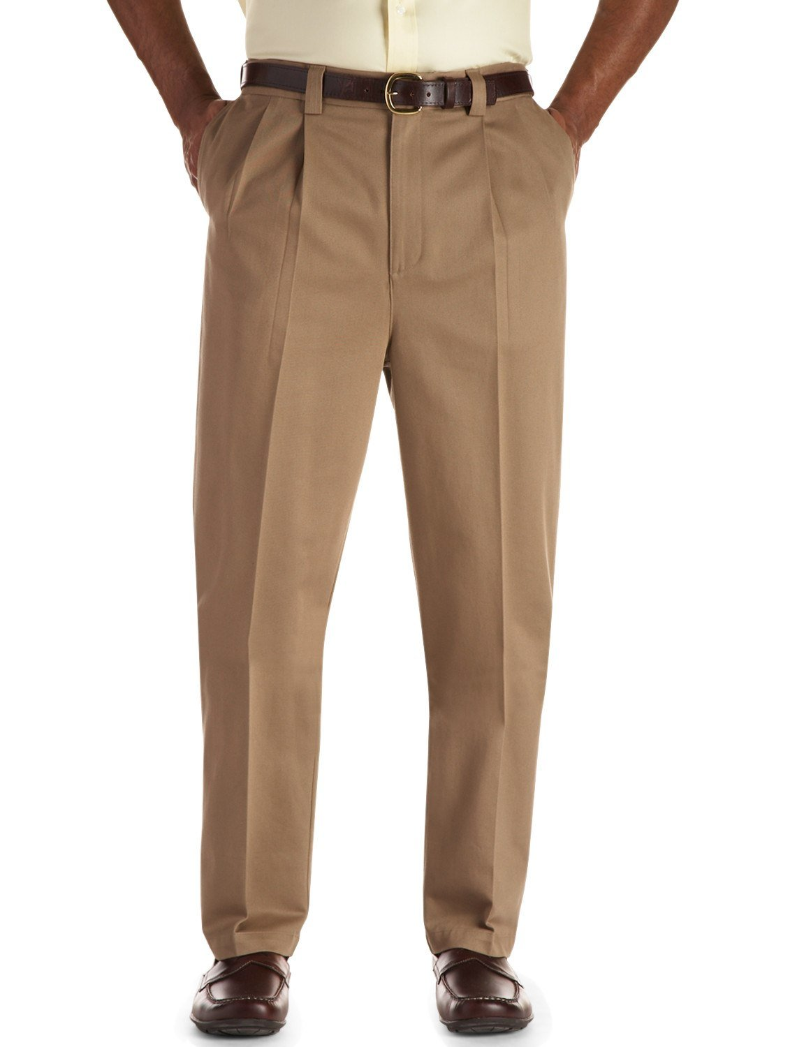 Oak Hill by DXL Big and Tall Pleated Premium Stretch Twill Pants, Latte, 46R 30
