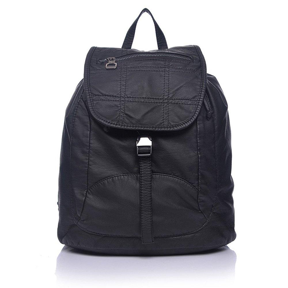 Pulama Water Proof PU Leather Backpack Vintage Fashion School Bag Cool Daypack (Black)