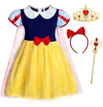 HenzWorld Princess Dress Up Costume for Toddler Girls Birthday Party Role Cosplay Headband Accessories 2T-6T