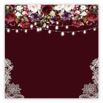 Funnytree 6x6ft Burgundy Red Flowers Backdrop Golden Glitter Floral Birthday Photography Background Bachelorette Bridal Shower Wedding Girl Adults Anniversary Decorations Banner Photo Studio