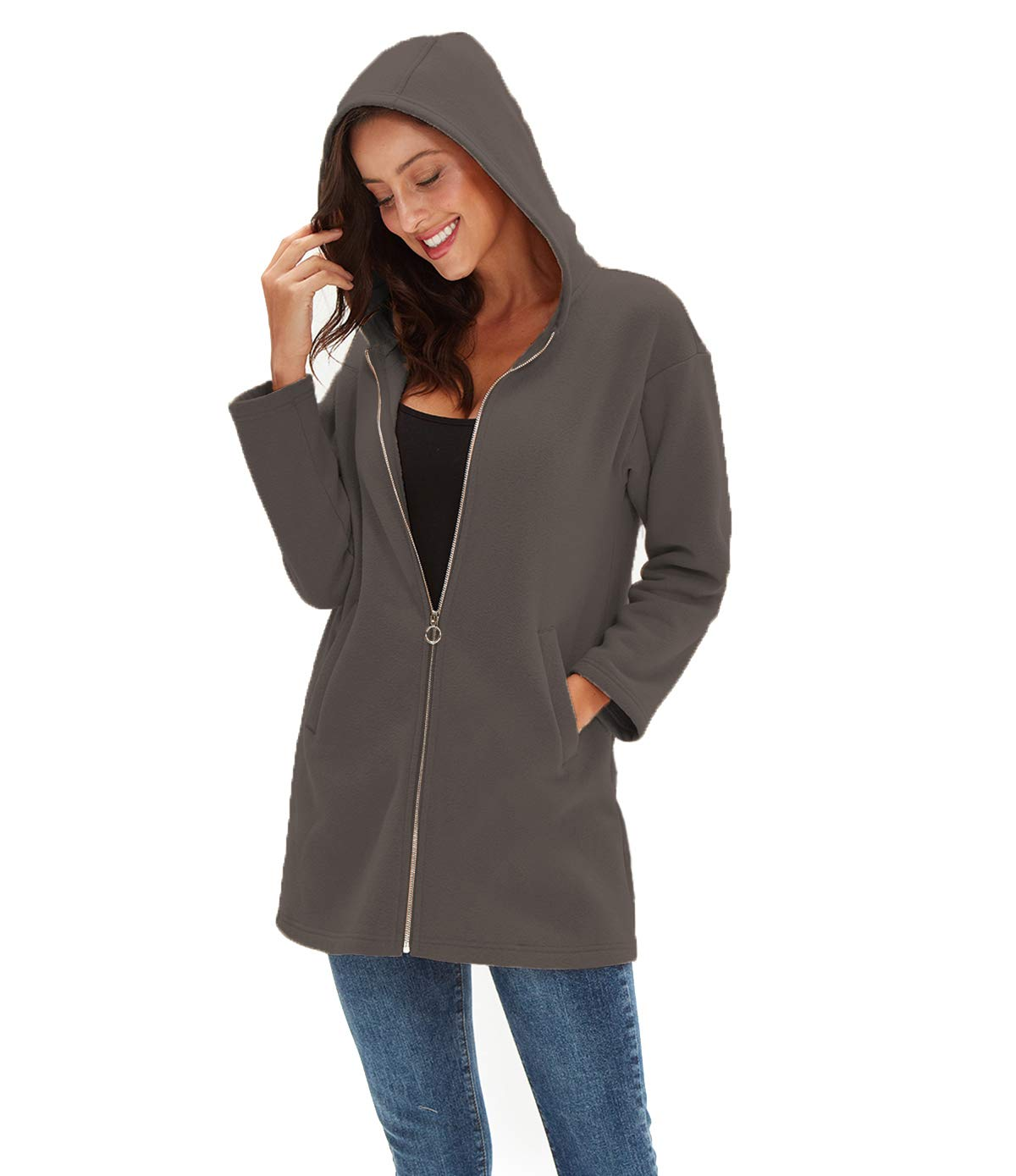 Amazhiyu Womens Zip up Hoodie Jacket Pocket Basic Long Sleeve Hoodie Tunic Casual Sweatshirts Coat