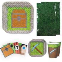 Blue Orchards Mining Fun Deluxe Party Packs (70 Pieces for 16 Guests!), Mining Fun Birthday Party Supplies, Pixel Party