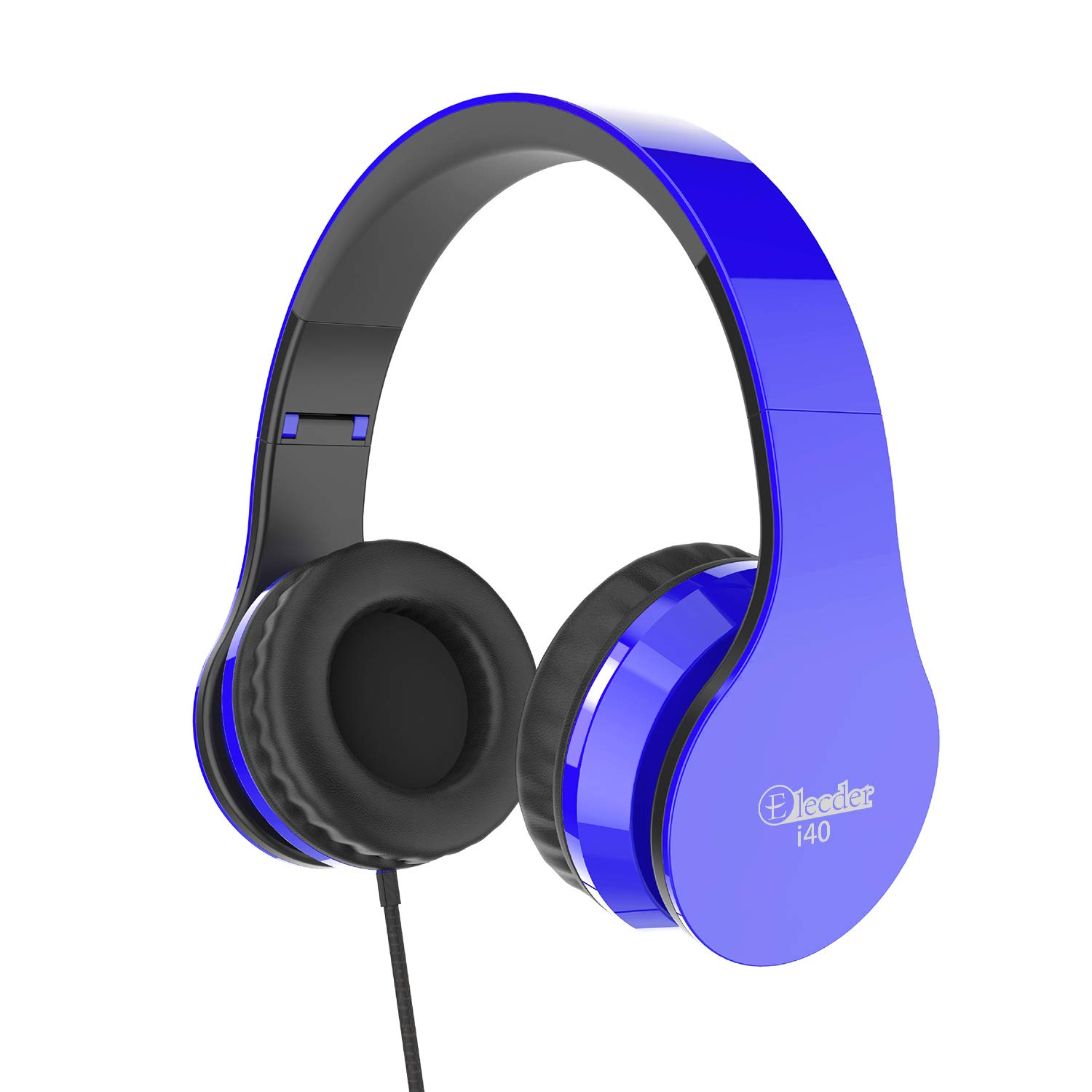 Elecder i40 Headphones with Microphone Foldable Lightweight Adjustable Wired On Ear Headsets with 3.5mm Jack for iPad Cellphones Laptop Computer Smartphones MP3/4 Kindle Airplane School (Blue/Black)
