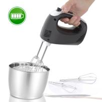Electric Hand Mixer - Portable Egg Beater Small Whisk Cake Mixer, Rechargeable Batteries, 3 Speed Settings, Stainless Steel Beasters NutriChef PKHNDMX32, Black