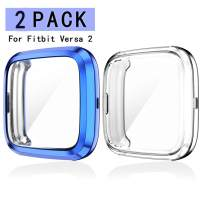 Haojavo 2 Pack Screen Protector Case for Fitbit Versa 2, Soft TPU Slim Fit Full Cover Screen Protector Case for Fitbit Versa 2 Smartwatch Bands Accessories