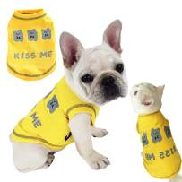 Dog Shirt Pet Shirts Cotton Puppy Clothes Summer Dog Vest Cat Shirts Breathable Pet Apparel Dog Clothes for Small to Medium Dog (Yellow, XXL)