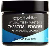 Expertwhite Natural Teeth Whitening Charcoal & Bad Breath Eliminator Charcoal Powder (Mint Flavor) 2fl oz. Made in USA. Natural Tooth Whitening & Polishing Paste. Safe on Enamel.