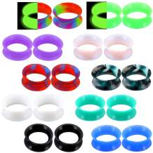 """COCHARM Soft Silicone GaugeEarrings 20PCS/10pair Flesh Tunnels Plugs Stretchers Expander Ear Gauges Piercing Jewelry Mixed Color Set 6g-1"""""""