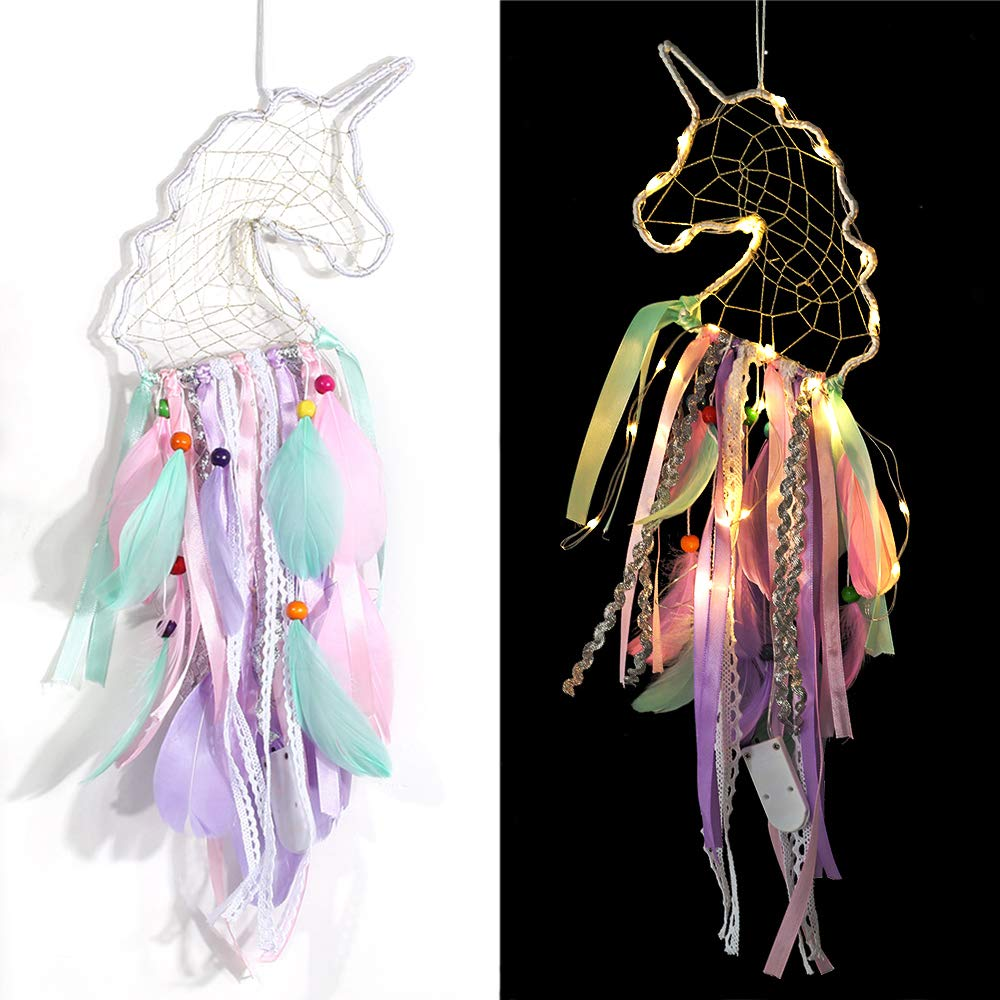 Dream Catcher with Lights,Unicorn Dreamcatcher for Kids,Girls Bedroom Wall Decor,Colorful Wall Hanging Decorations for Baby Room Theme Birthday Wedding Party Supplies Car Ornament Gift (Unicorn)