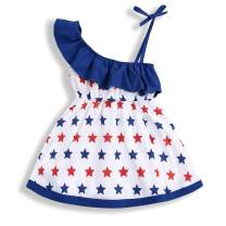 YOUNGER TREE Toddler Baby Girls 4th of July Summer Outfits American Flag Stars One-Shoulder Dress Independent's Day Suits