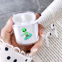 fuinhi Clear Hard Plastic Case Full Protective Cover Skin Compatible with AirPods 2 & 1 (Alien)