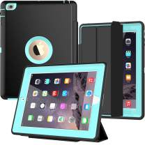SEYMAC iPad 2/3/4 Case with Smart Cover, Three Layer Drop Protection Rugged Protective Heavy Duty iPad Case with Magnetic Smart Auto Wake/Sleep Cover Compatible with Apple iPad 2/3/4-Black/Light Blue
