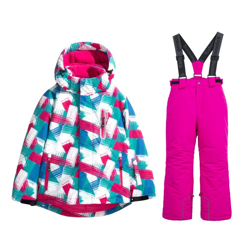 Girls Insulated Ski Jacket + Pants Windproof Waterproof Snowsuit (US 4 - US 16)