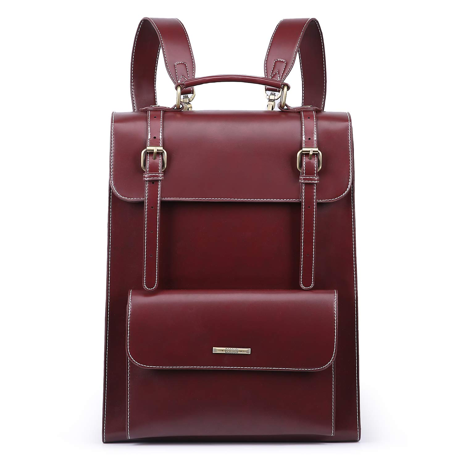 ECOSUSI Laptop Backpack for Women PU Leather Backpack Vintage for Laptop 15.6 inches School Bag College Bookbag, Bordeaux