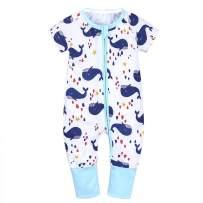 Feidoog Baby Boys Girls' Zipper Short Sleeve Cute Cartoon Cotton Romper Outfits