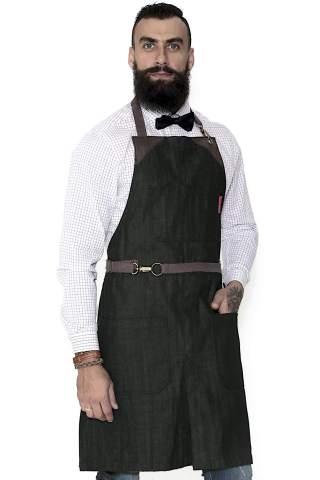 Tattoo Artist Baker Bartender Durable Denim No-Tie Midtown Blue Apron Stylist Server Aprons Leather Reinforcement and Split-Leg Barista Adjustable for Men and Women Pro Chef