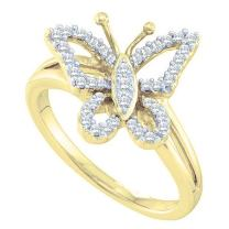 Dazzlingrock Collection 0.20 Carat (ctw) 14K Gold Round White Diamond Cocktail Right Hand Butterfly Ring 1/5 CT