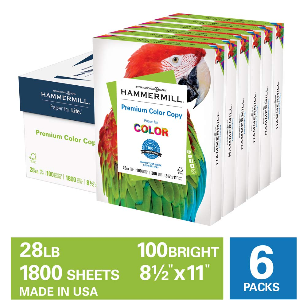 Hammermill Premium Color Copy 28lb Copy Paper, 8.5x11, 6 Pack Case, 1,800 Sheets, Made in USA, Sourced From American Family Tree Farms, 100 Bright, Acid Free, Premium Color Copy Printer Paper, 102700C