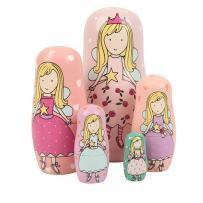 Winterworm Cute Lovely Angel Princess with Pink Purple Green Dress Handmade Nesting Dolls Matryoshka Dolls Russian Dolls Set 5 Pieces Kids Girls Gifts Toy Home Decoration.