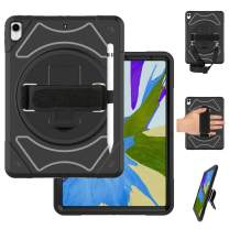 """Miesherk iPad 2018 Pro 12.9 (3rd Generation) Case, Heavy Duty Case with Stand Hand Strap Shoulder Strap Pencil Holder Shockproof Durable Protective Case for iPad pro 12.9"""" 2018 Newest Released (Black)"""