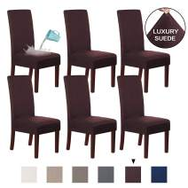 H.VERSAILTEX Suede Dining Room Chair Covers Dining Chair Slipcover Parsons Chair Slipcover Velvet Chair Covers for Dining Room Set of 6, Soft Stretch Removable High Back Chair Protector, Brown