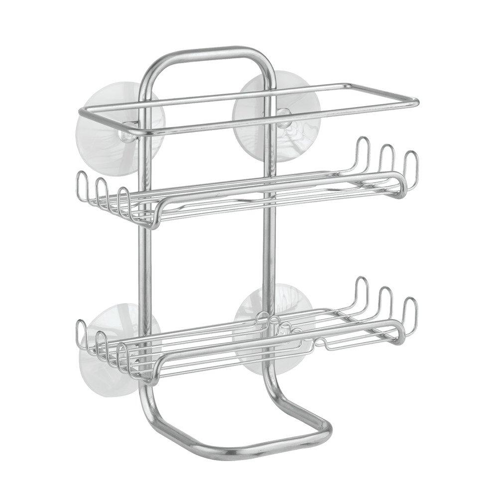 InterDesign Classico Suction Bathroom Caddy - Shower Storage Shelves for Shampoo, Conditioner and Soap - Silver