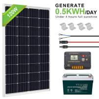 ECO-WORTHY 120W 0.5KWH/Day 12V Off Grid Solar Power System Kit Cpmplete with Battery: 120W Solar Panel+20A LCD Charge Controller+ 100AH 12V Lead Acid Battery