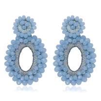 Statement Drop Earrings - Bohemian Beaded Teardrop Dangle Earrings Gift for Women