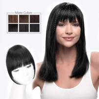 HMD Clip in Bangs 100% Human Hair Bangs Extensions for Women Natural Black Clip on Fringe Bangs Real Hair Nice Natural Flat Neat Bangs with Gradual Temples One Piece Hairpiece for Party and Daily Wear