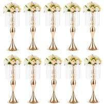 10 Pcs 21.3 inches Tall Crystal Flower Stand Wedding Road Lead Tall Flower Holders Centerpiece Crystal Flower Chandelier Metal Flower Vase for Reception Tables Wedding Supplies