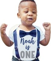 Noah's Boytique Personalized First Birthday Outfits for Baby Boys with Bow Ties and Suspenders