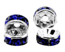 Mandala Crafts Crystal Glass Rondelle Spacer Beads for Jewelry Making, Beading, Crafting; Silver Tone 6mm Cobalt Blue