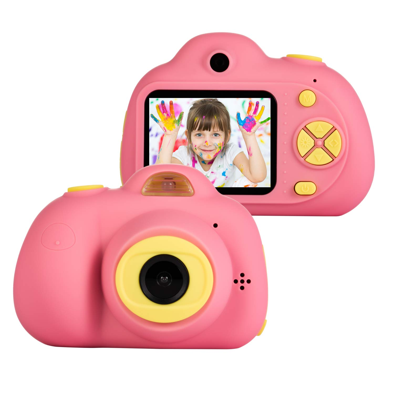 omzer Kids Camera Toys for Girls, Cute Children Cameras Mini Camcorder for 3-8 Years Old Girl with 8MP HD Video Lens Great for Shooting, Deep Pink(16GB Memory Card Included)