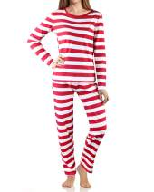 VOTEPRETTY Women's Long Sleeve Fitted Striped Soft Cotton Christmas Sleep Pants Sleepwear Pajamas Set