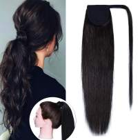 SEGO Ponytail Extension Human Hair Pony Tails Hair Extensions Wrap Around Ponytail Hair Extensions 100% Real Remy Hair With Magic Paste Long Straight For Women 14 Inch #02 Dark Brown 70g
