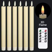 GenSwin Flameless Ivory Taper Candles Flickering with 10-Key Remote, Battery Operated Led Warm 3D Wick Light Window Candles Real Wax Pack of 6, Christmas Home Wedding Decor(0.78 X 9.64 Inch)