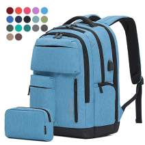 Travel Laptop Business Backpack Anti Theft College Computer Bagpack Keyhole zipper Design Gifts for Men & Women Fits 15.6 Inch Notebook with USB Charging Port Bonus a Small pencil Case,Denim Blue