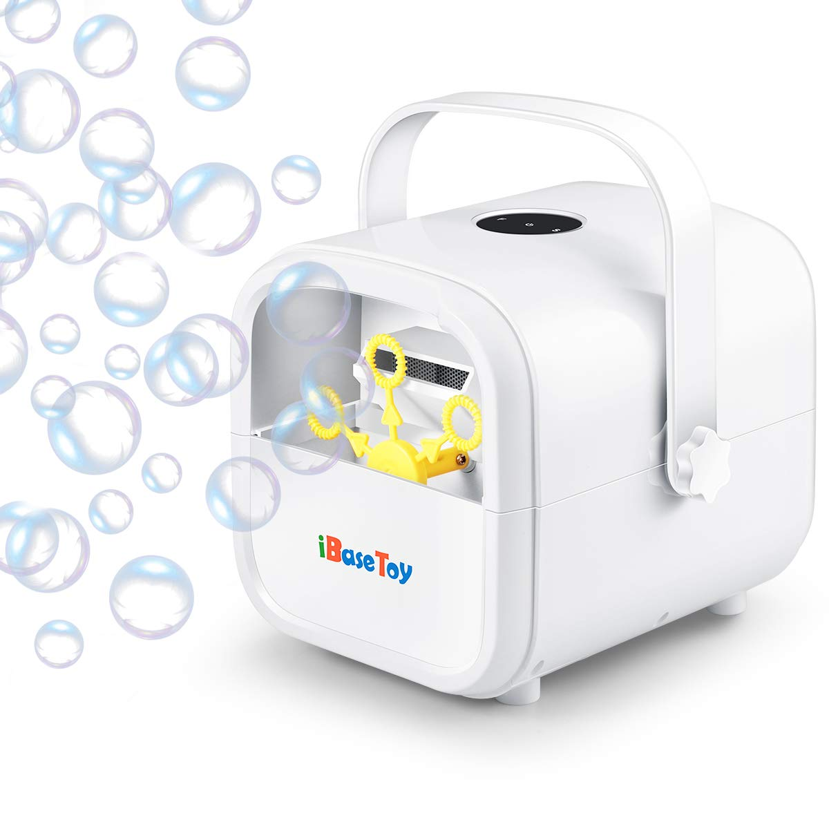 iBaseToy Automatic Bubble Machine for Kids, Portable Professional Bubble Maker for Parties with 2 Speed Levels, Bubble Blower Operated by Plug-in or Batteries