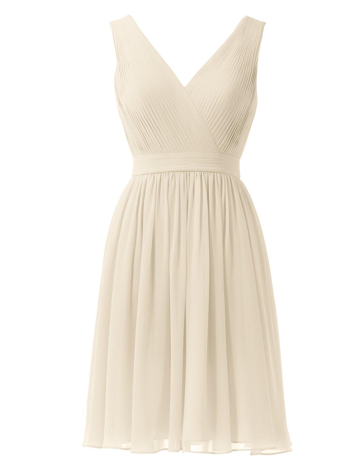 Alicepub Chiffon Bridesmaid Dresses Short Prom Gown Evening Party Dress V-Neck