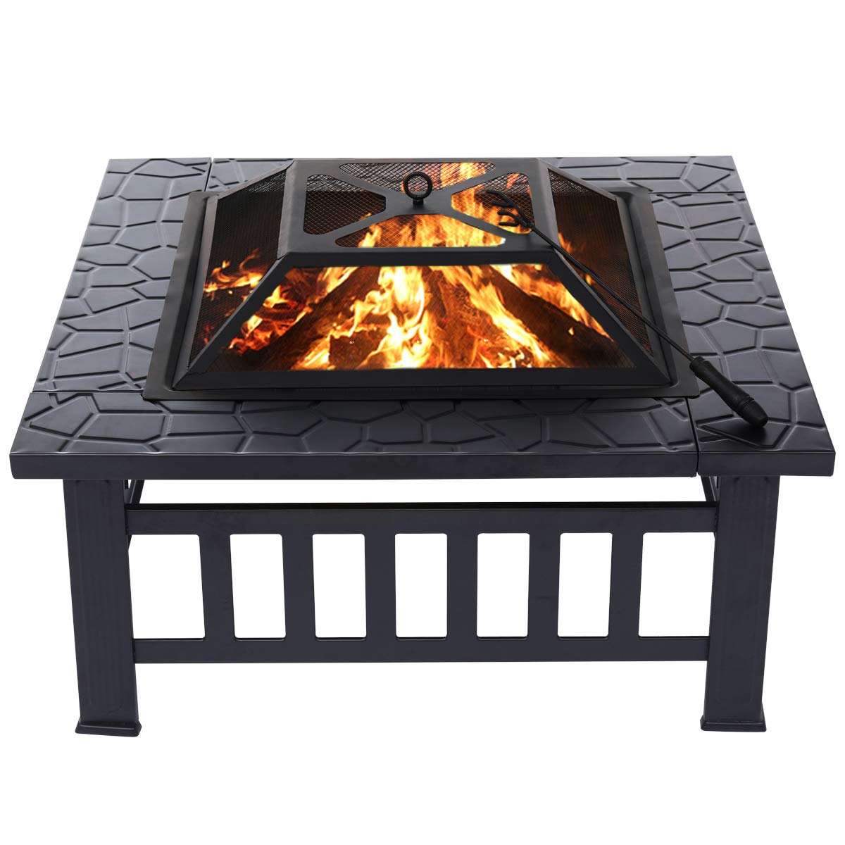 KINGSO 34'' Outdoor Fire Pit Metal Square Firepit Patio Stove Wood Burning BBQ Grill Fire Pit Bowl with Spark Screen Cover, Log Grate, Poker for Backyard Garden Camping Picnic Bonfire