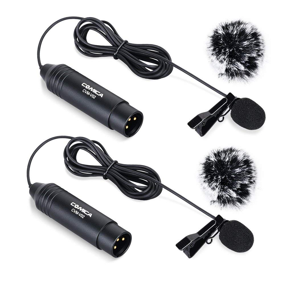 Comica XLR Microphone CVM-V02O 2 Pack 5.9ft Phantom Power Omni-directional Lavalier Lapel Microphone for Canon Sony Panasonic Camcorders ZOOM H4n H5 H6 Tascam DR-40 DR-60D DR-70D DR-100 Recorders