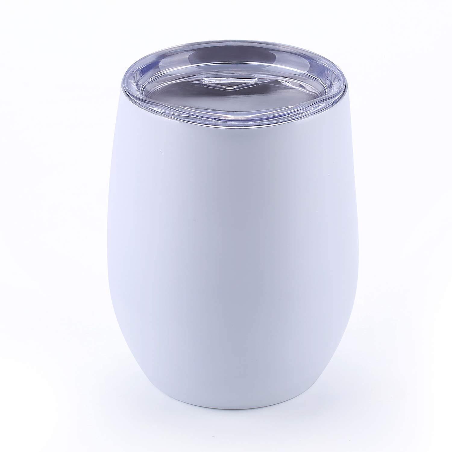 WBRWP 12oz travel wine tumbler with lid : double-vacuum insulated food grade stainless steel-White