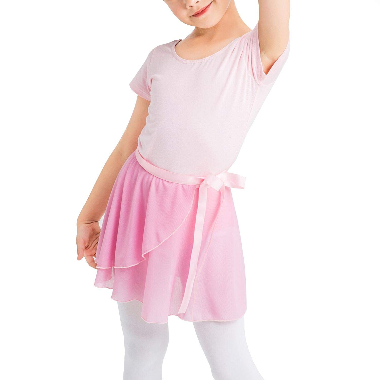 Girls Short Sleeve Leotard with Skirt Kids Dance Ballet Tutu Dresses 5-12 Years