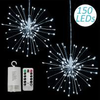 2 Pack 150 LED Fireworks Lights, Hanging Starburst Lights, Battery Operated Fairy String Lights with Remote Control for Christmas, Wedding, Party, Indoor, Outdoor (150 LED, Cool White)