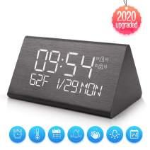 Yeslike Digital Alarm Clock, Adjustable Brightness Voice Control Desk Wooden Alarm Clock, Large Display Time Temperature USB/Battery Powered for Home, Office, Kids