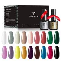 TOMICCA Gel Nail Polish Set - 18 Popular Colors Nail Polish Kit Soak Off UV LED Gel Polish Trendy Pastel Colors Starter Kit for Home Party Pro Salon Nail Art with No Wipe Base and Top Coat